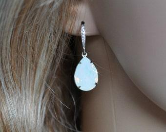 Handmade Swarovski White Opal Pear Crystal Dangle Earrings, Bridal, Wedding (Sparkle-2510)
