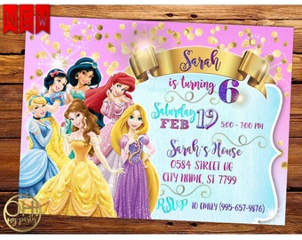 Princess Disney Invitation, princess disney invitation party, princess disney invitation digital, princess invitation, princess party