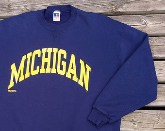 Beautiful University of Michigan Wolverines 80's / 90's Blue Crew-neck Russell Athletic Made in USA XL