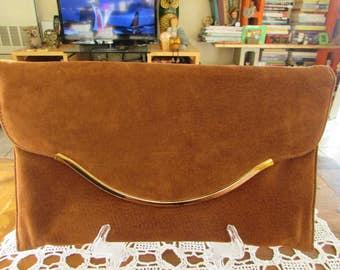 Vintage Brown Suede Clutch/Vintage Clutch/Vintage Handbag/Vintage Purse/Vintage Accessories/Clutch Purses/Clutch Handbags
