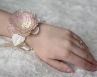 Pink wrist corsage | Wedding corsage | Bridal wrist corsage | Wrist cuff | Flower bracelet