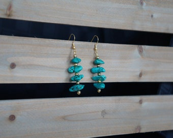 Turquoise and Gold Drop Earrings, Dangle Earrings, Howlite Earrings, Green Stone Earrings, Handmade Earrings, Turquoise Earrings