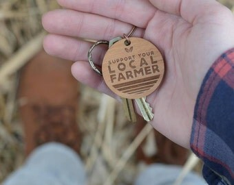 Small Farmer, Buy Local, Farmers Market, Support Your Local Farmer, Keychain, Key Chain, Farmer Gift, Support Local, Key Fob, Magnolia Roots