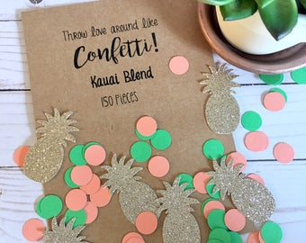 Hawaiian Confetti | Tropical Confetti | Tropical Party Confetti | Luau Decorations | Gold Pineapple Confetti | Beach Party Decor
