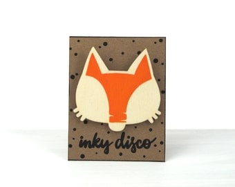 foxy wood brooch