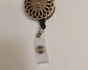 Gold Floral Design Pin ID badge