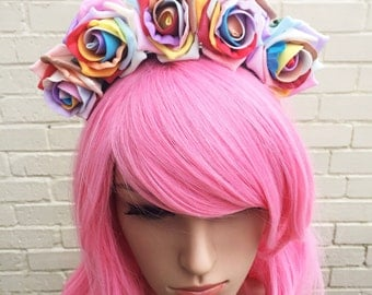 Rainbow Headband, Rainbow Roses, Gay Pride Band, Festival Headband, Rose Crown, Rainbow Crown, Pride Headband, LGBT Accessory, Hair Flowers