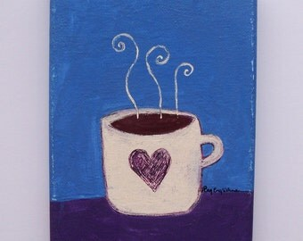 "coffee-original, primitive ooak folk art painting/kitchen art/coffee lover gift/coffee house art-5"" x 7"" x 1/2"" deep, ready to hang"