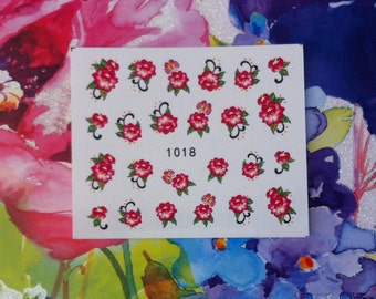 Assorted Pink Rose Bouquets Floral Flower Nail Decals Tattoo Water Transfer Wedding Bridal Bride Nature B156