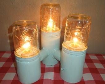 Mason Jar Lamp Three Amigos, Mason Jar Decor, Table Lamp, Retro, Modern, Mason Jar Lights, Industrial, Art Deco, Texas made, Steel, Metal