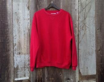 Retro Red Fila Sweatshirt | 90s Fila Sweatshirt | Red Fila Top | Old School Fila | Large Red Fila Sweatshirt