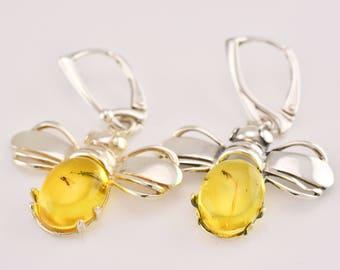 Honey Bee Earrings, Amber And Silver Earrings, Bee Earrings, Bee Jewelry, Insect Earrings, Bee Shape Earrings,