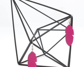 """Earrings leather feathers """"The graceful"""" Neon rose hand"""