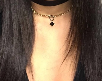 Black Velvet Flower Choker Set