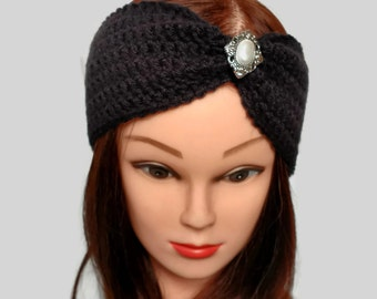 Knit turban headband with brooch, Black crochet ear warmer cinched, adult teen women's headband, gifts for her under 15, Ready to ship