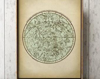 ASTRONOMY STARS CHART Poster Zodiacal Star map, Astronomy Print, Stars Print, Astronomy Illustration, Astronomy Poster, Celestial Art
