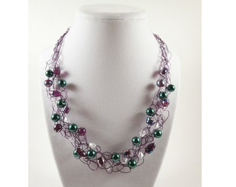 Purple Statement Necklace / Purple Wire Necklace / Wire Jewelry / Green Purple Beaded Necklace / Crochet Necklace / Women Statement Necklace