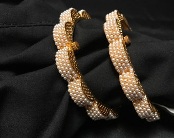 Indian Bangles - Indian Moti Pearl Bangles - Indian Flower Bangles - Kundan Bangles - Indian Jewelry - Kundan Jewelry - Indian Bridal - Desi