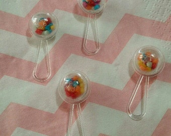 12 Vintage Mini Baby Rattles, Baby Shower Decorations, Tiny Rattles, Table Decor, Cupcake Decoration, Baby Shower Favors, Cake Decor, Supply