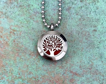 20mm Stainless Steel Tree Of Life Essential Oil Diffuser Necklace, Aromatherapy, Homeopathy, Natural Healing, Tree Of Knowledge, Gift Idea