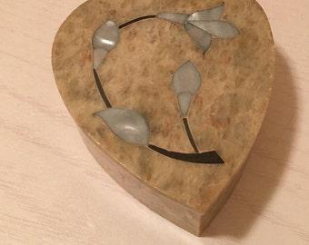 Soapstone Heart Shaped Trinket Box - Mother of Pearl Flower on Lid