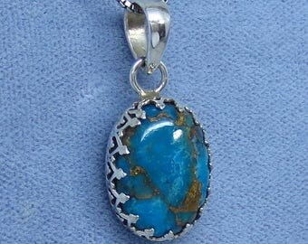 Dainty Mojave Blue Copper Turquoise Crown Bezel Pendant - Sterling Silver - 211108 - Free Shipping to the USA