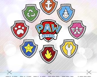 SVG DXF Paw Patrol Badges Shields Layered Cut Files Cricut Designs Silhouette Cameo Party Decorations Vinyl Decal Tshirt Crafting Stencil