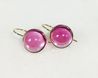 SALE 20% OFF.  14k solid gold earrings. Pink Topaz, 12mm Round Cabochon  topaz  in 14K yellow gold, solid gold, Earrings