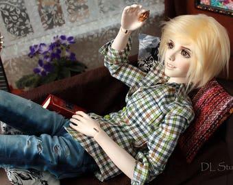 BJD SD plaid shirt with long sleeve