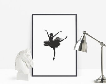 Ballet Dancer, Ballerina, Silhouette Movement, Printable Poster for Girls Room, Contemporary Wall Decor, Digital Download, Painting Poster