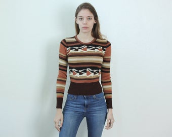 70s Knit Sweater // Vintage Striped Pullover Jumper Girly Womens - Extra Small xs