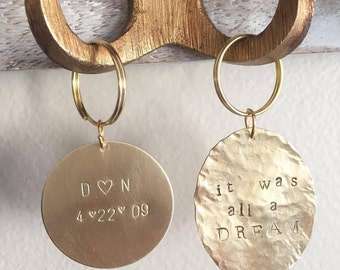 Personalized Keychain, Custom Keychain, Brass Hand Stamped Keychain, Gold Keychain, Gift for her, Personalized Gift, Coordinate, keyring