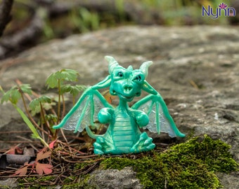 Baeh OOAK Dragonling - Mint Dragon Figurine - Polymer Clay Sculpture - Collectible Fantasy Figure