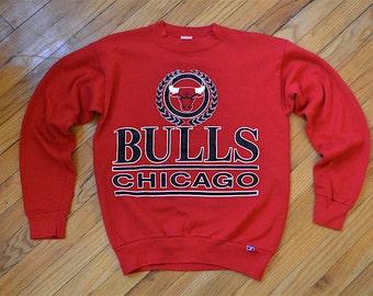 1980's LOGO 7 'The Chicago Bulls' Basketball Team logo/ Michael Jordan red sweatshirt, vintage, size adult medium