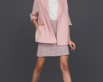 Classic Button Up Coat / Pink Women's Coat / Elegance / Outerwear by BATTIBALENO / W269