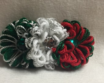 Hair Barrette - Red, Green, White (#001)