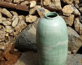 Pale green celadon vase