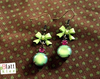 Vintage amber - earrings green temptation