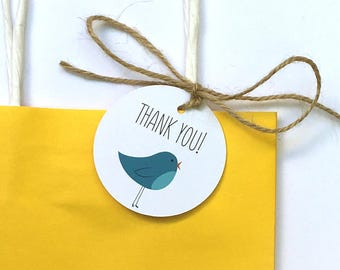Thank You gift tag with illustrated blue bird – set of 12