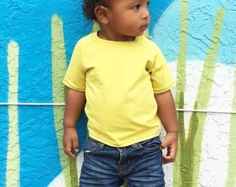 Solid Yellow T-Shirt//Citron Top//Organic T-Shirt