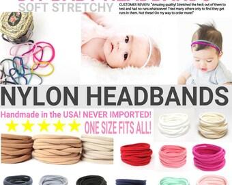 Nylon Baby Headbands, One Size Fits ALL, Skinny Nylon Headbands, Run-Resistant Headbands, DIY Baby Headbands, Stretchy Baby Headbands