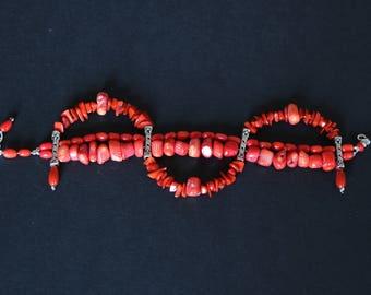 Genuine coral stones bracelet