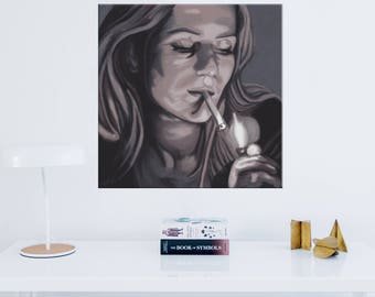 Original digital painting on canvas - woman smoking - publishing limited