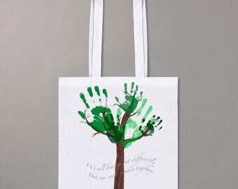 Handprint tree shopper bag