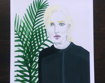 Wild fern print, Girl portrait, Inspirational wall art