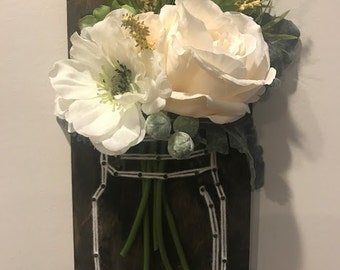 Mason Jar with Flowers -Wooden Sign - String art
