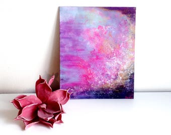 Abstract painting 'PinkPurpleGold' ORIGINAL, acrylic on cardboard, free shipping, abstract art, pink, purple, gold, metallic, glamour