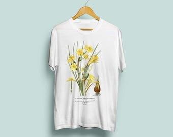 Narcissus Pseudonarcissus Unisex T-Shirt - Botanical Illustration, Daffodil Art, Botanical Art, Botany, Flower Tshirt, Vintage Art, S M L XL