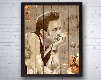 Johnny Cash, Johnny Cash Art, Country Art, Country Music, Country Decor, Country Singer, Wood and Flowers, Country Print, Johnny Cash Print