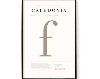 "Caledonia Poster, Screen Printed, Archival Quality, Wall Art, Poster, Designer Gift, Typography Print, 24"" x 36"""